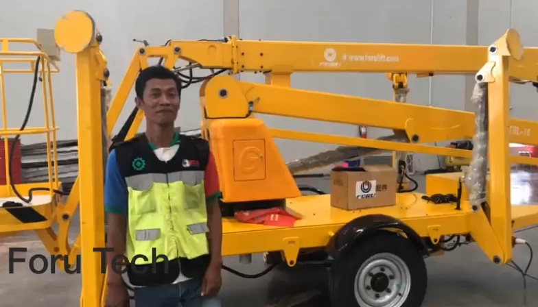 High quality cherry picker tow behind trailer cherry picker boom lift for sale