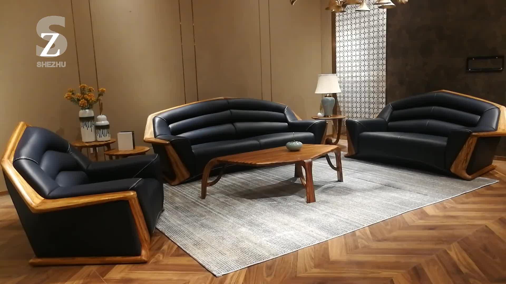 Mobília da Sala de Vida de luxo Simples Moldura De Madeira Sofá de Couro Genuíno Mais Recente 6 7 Lugares Sofá Cenografia
