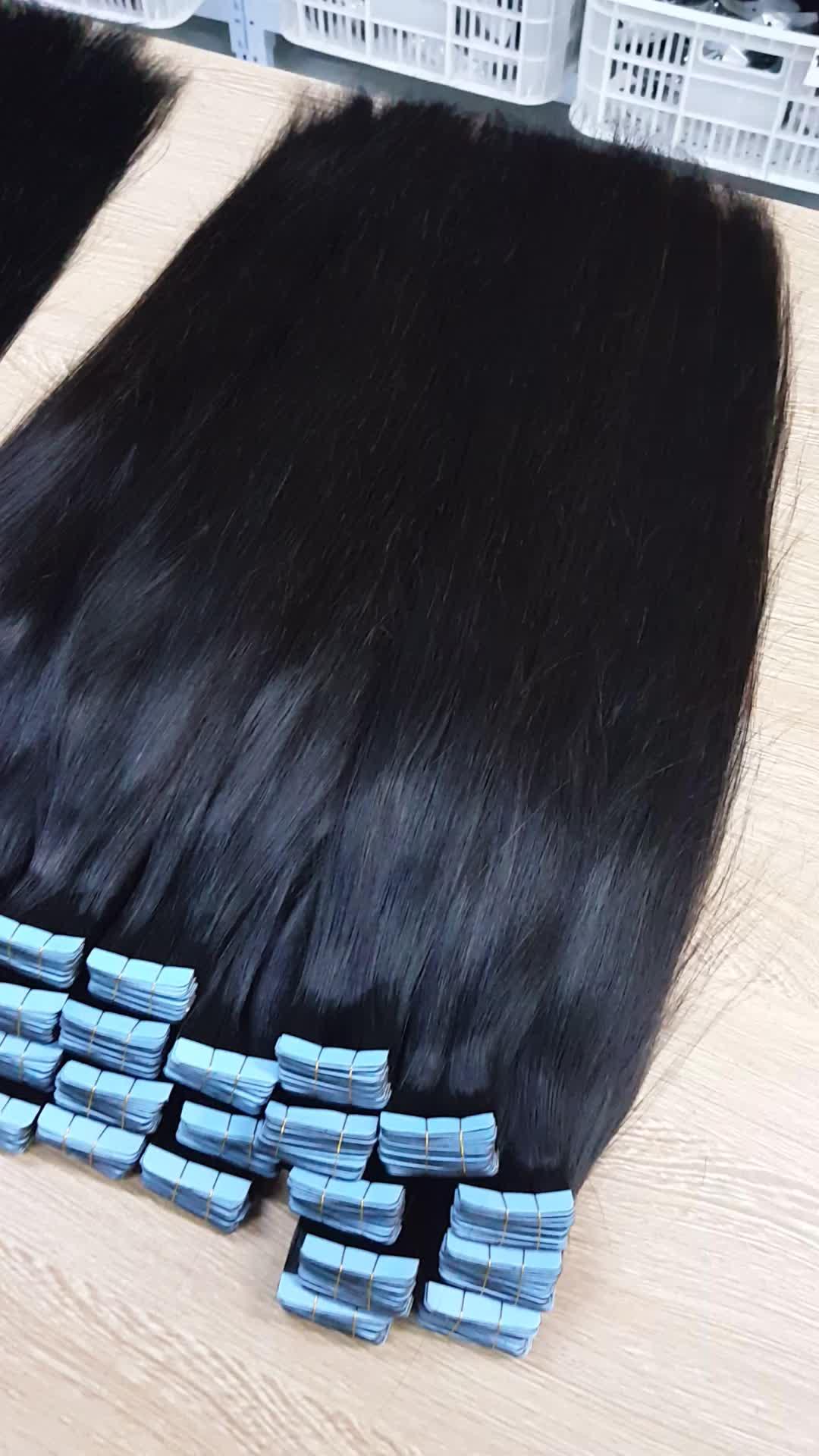 नए उत्पादों कोई बहा त्वचा कपड़ा रूसी नि: शुल्क शिपिंग बाल 100% रेमी मानव बाल टेप बाल विस्तार