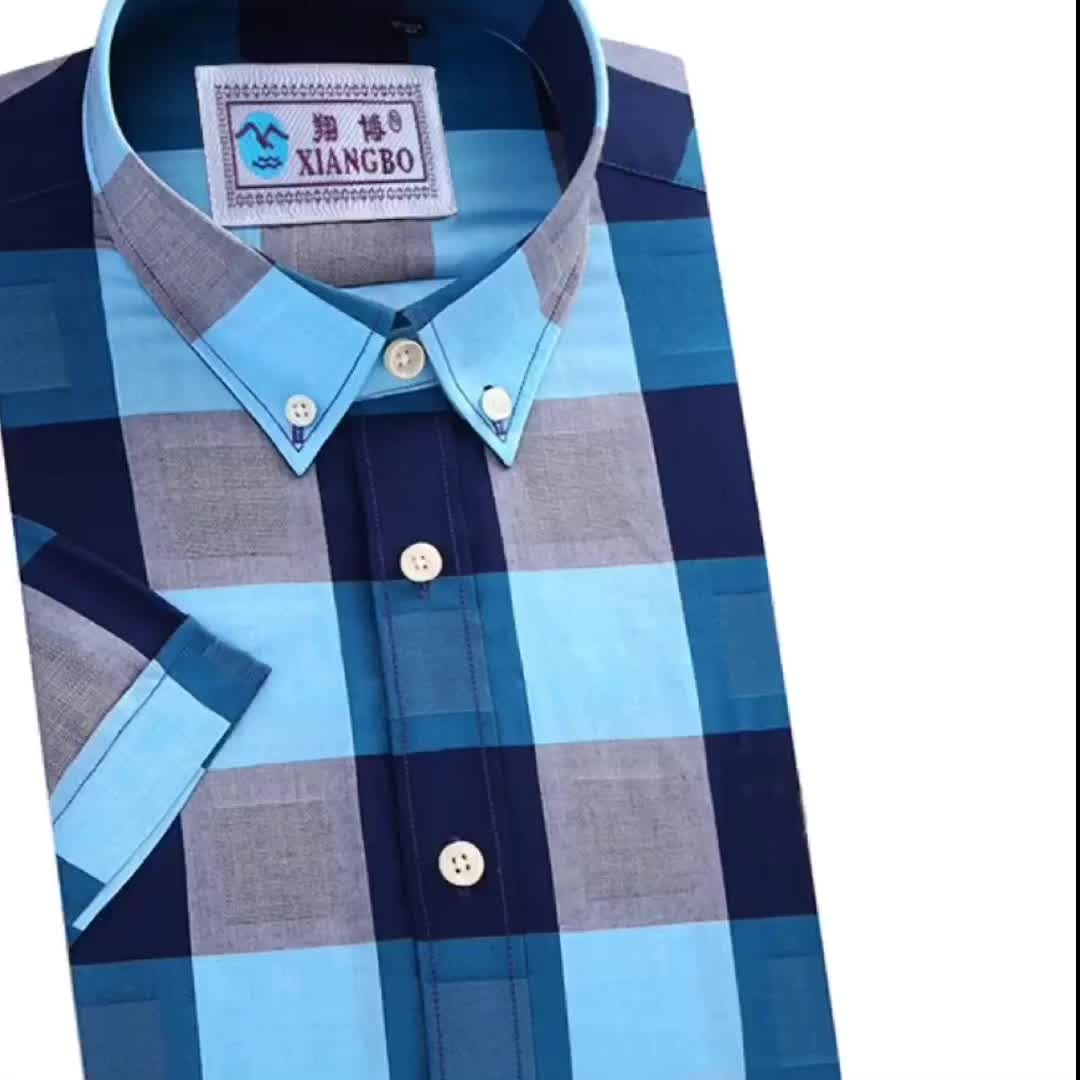 Tailored males cotton square collar plaid long sleeve casual shirt