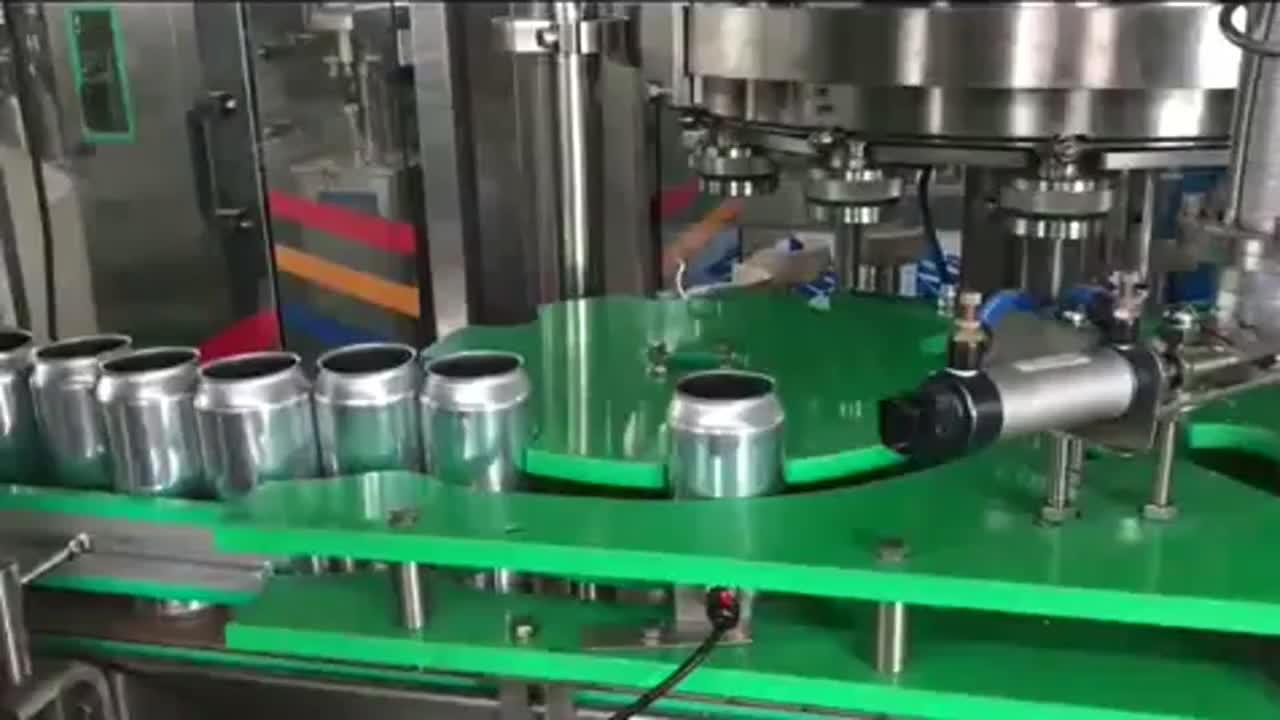 Pequeña llenado y sellado de canning cerveza bebida energética sistema de línea de máquina para bebidas carbonatadas