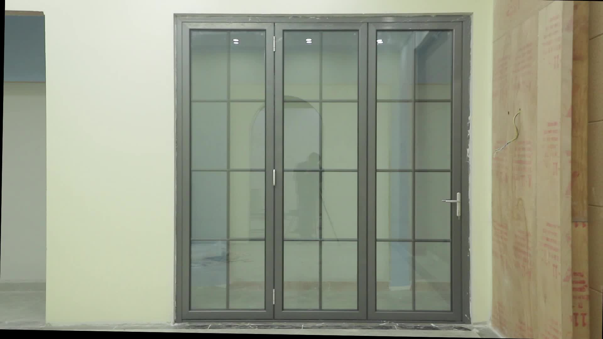 EE. UU. Y Australia estilo insonorizadas terraza puertas de doble acristalamiento bi fold puertas