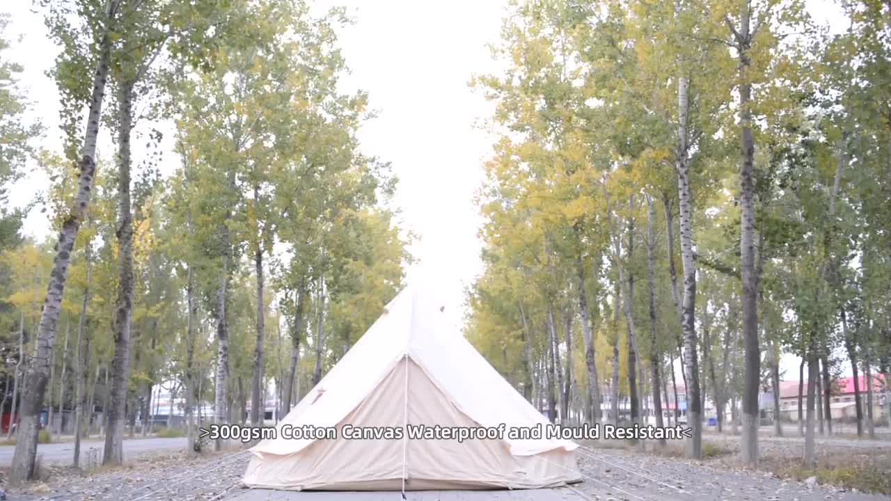 Heavy Duty 5m Luxury Cotton Canvas Bell Tent For Glamping