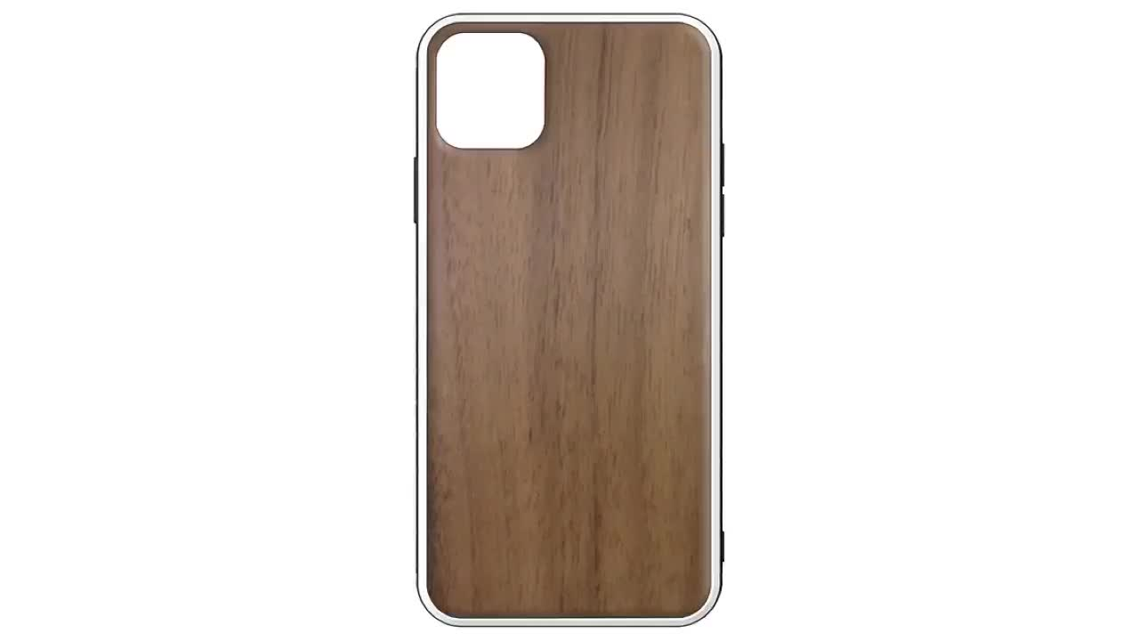 Two in one TPU PC wooden mobile phone case For iPhone 11 TPU PC wood case