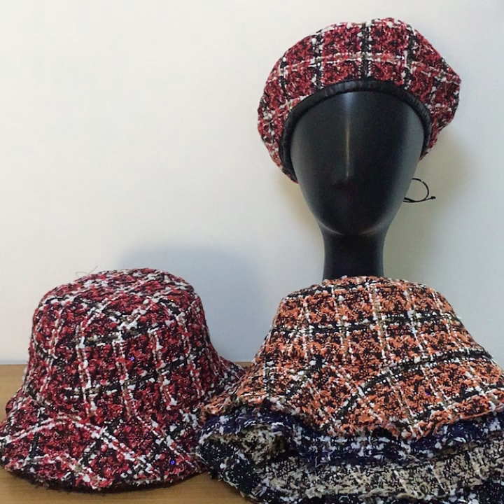 2018 Autumn Winter Vintage Tweed Fabric Bucket Cap Hat with Frayed Brim