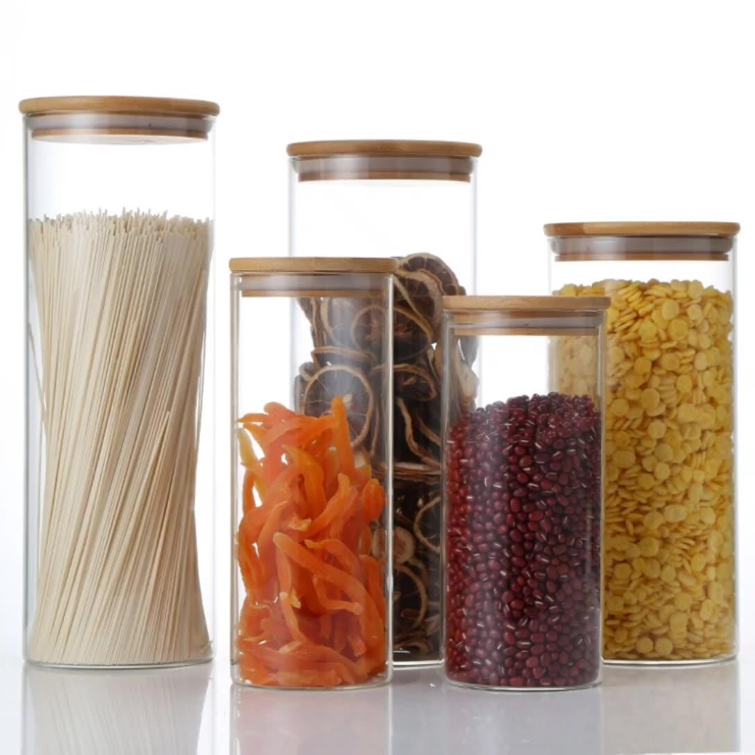 Essen glas kleine behälter bambus salz peeling container lebensmittel 2 unzen gewürz glas für lebensmittel