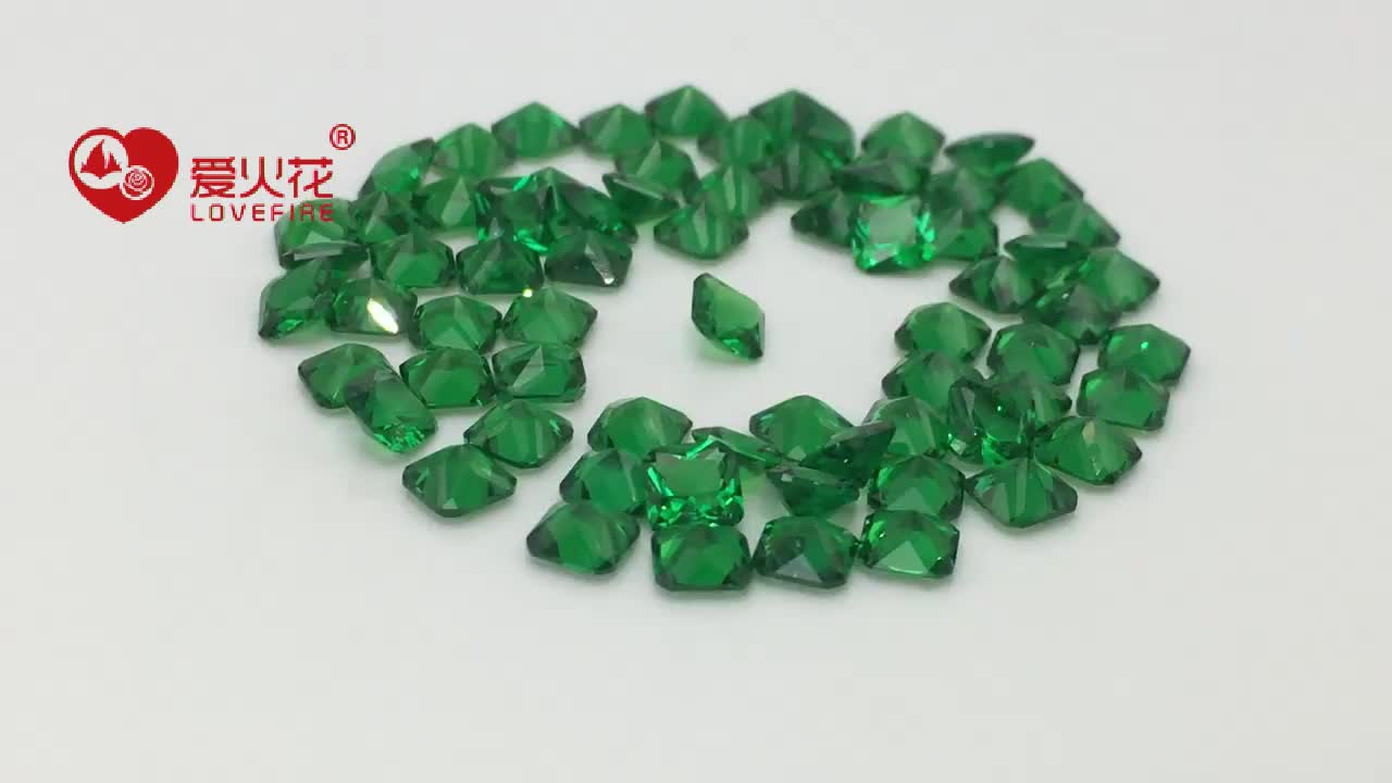 Factory Price Square Chamfer 4*4mm~6*6mm Green Nano Stone synthetic Stone Price