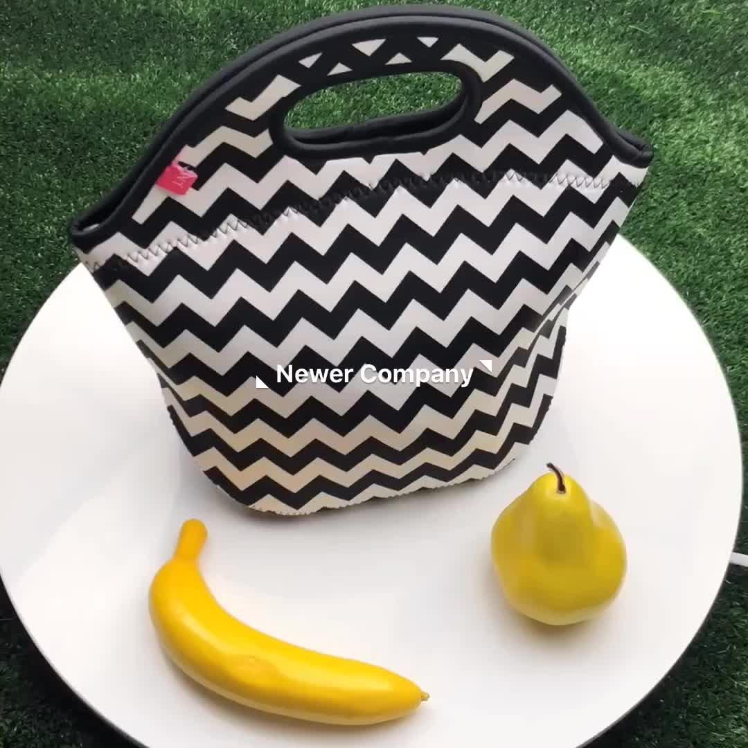 En gros moins cher étanche noir blanc en néoprène isolé boîte à lunch isotherme fourre-tout sac pour enfant