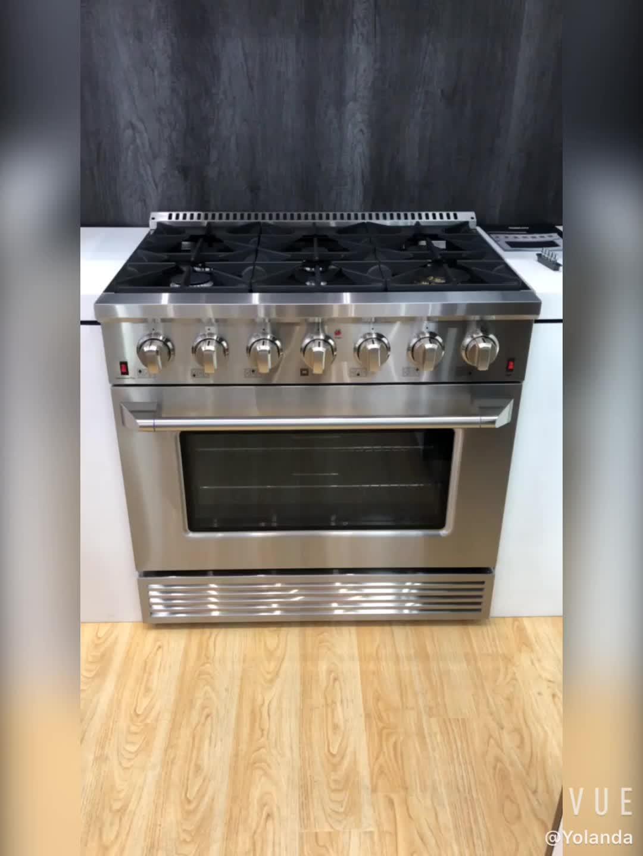 SENG certifié CSA noir titane gamme professionnelle 6 brûleurs 30 et 36 et 48 pouces cuisinières à gaz avec four