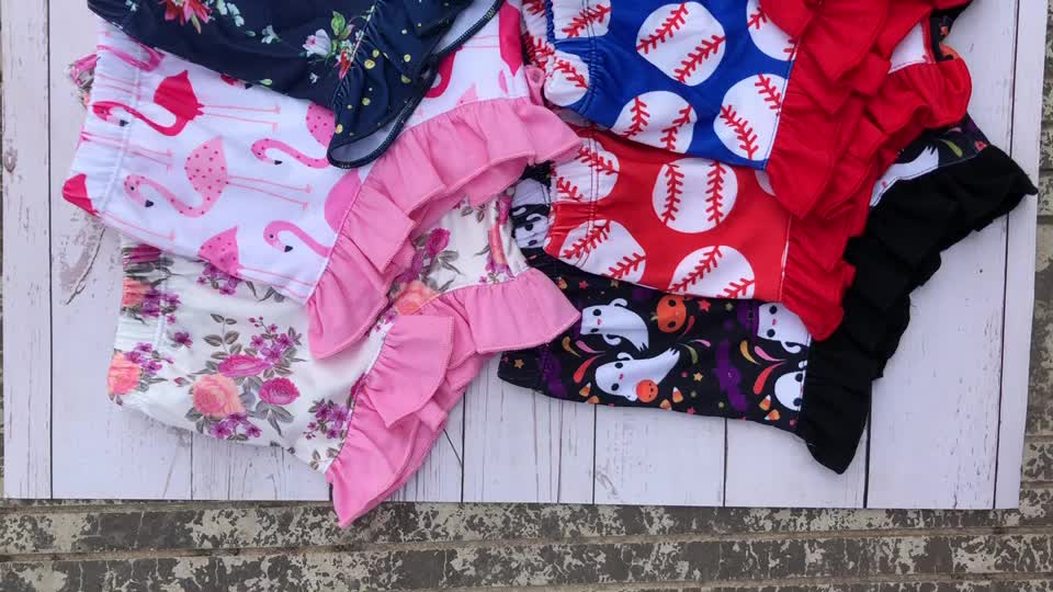infant toddler flower bloomers girls ruffle shorties & trousers baby summer Flamingo bummies