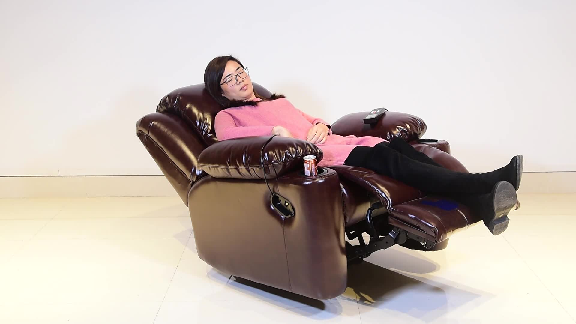 Modern luxury home theater cinema furniture single lift swivel rocker mechanism massage electric genuine leather recliner chair