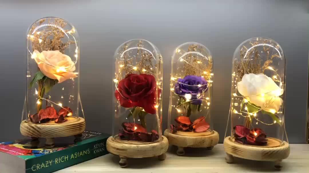 एलईडी प्रकाश के साथ गिलास गुंबद में रोमांटिक कृत्रिम रेशम गुलाब लाल गुलाब रेशम संरक्षित फूल उपहार के लिए वेलेंटाइन दिवस