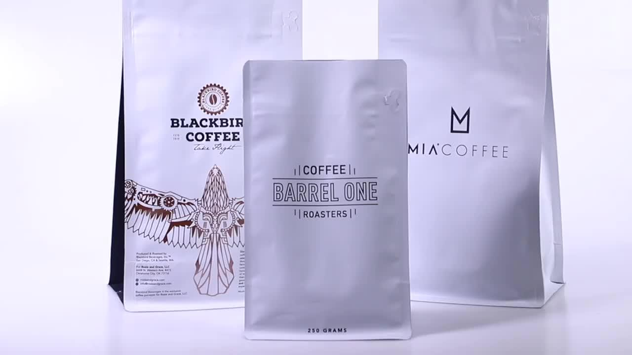 500g à fond plat à fermeture à glissière imprimé personnalisé sac d'emballage de café avec valve pour le grain de café