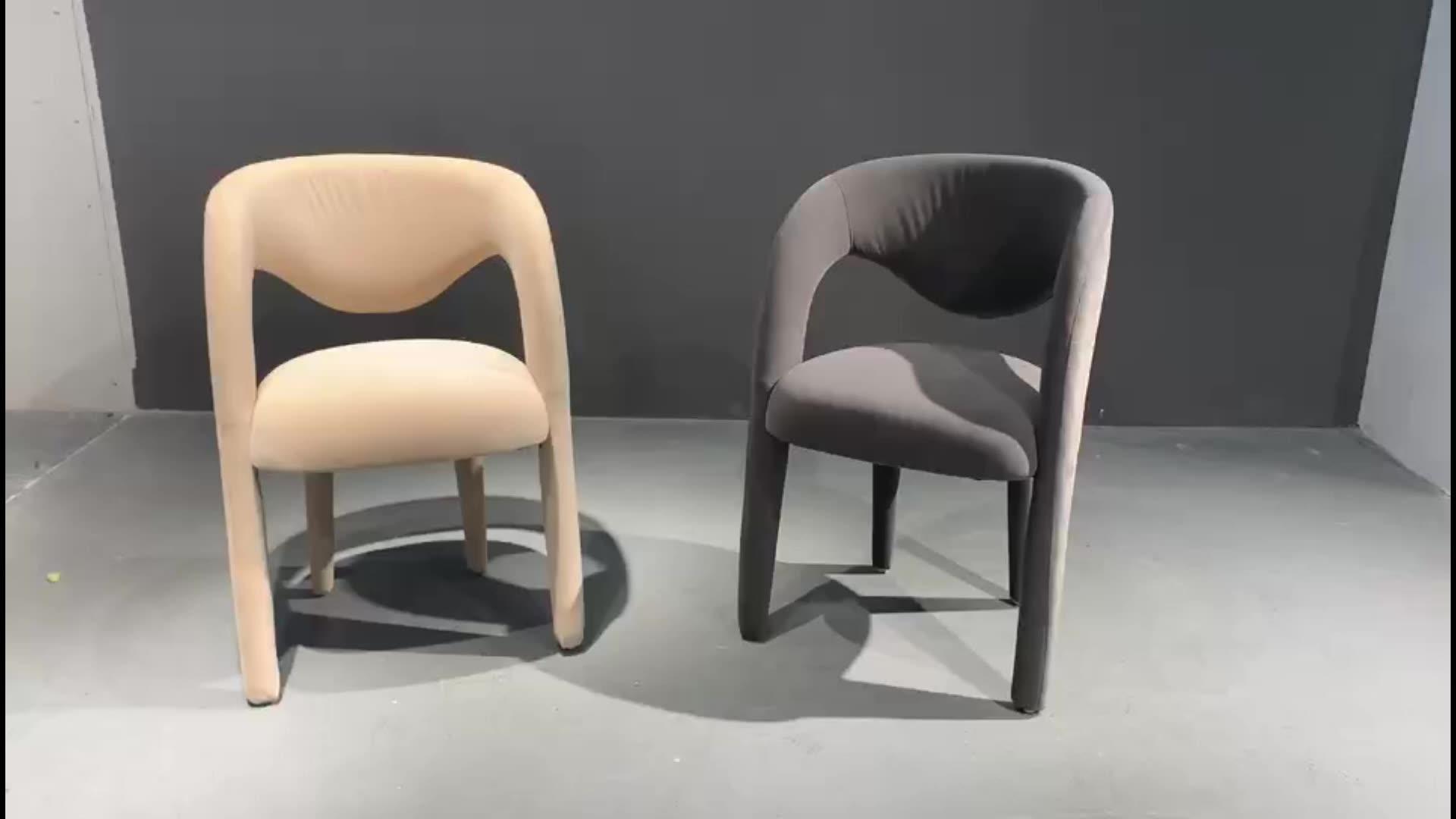 Europeo nórdico escandinavo tapizado Silla de comedor danés francés Holland de tela de terciopelo de la silla