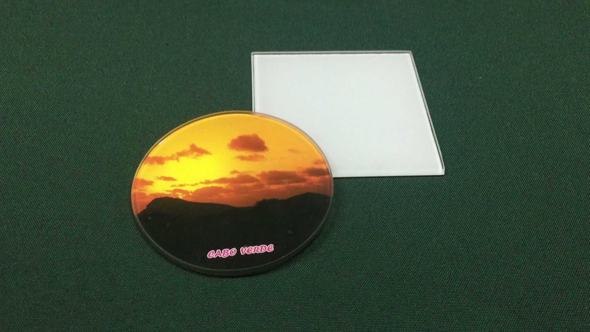 Conjuntos de vidro coaster coaster redondo de vidro temperado barato Sublimação em branco
