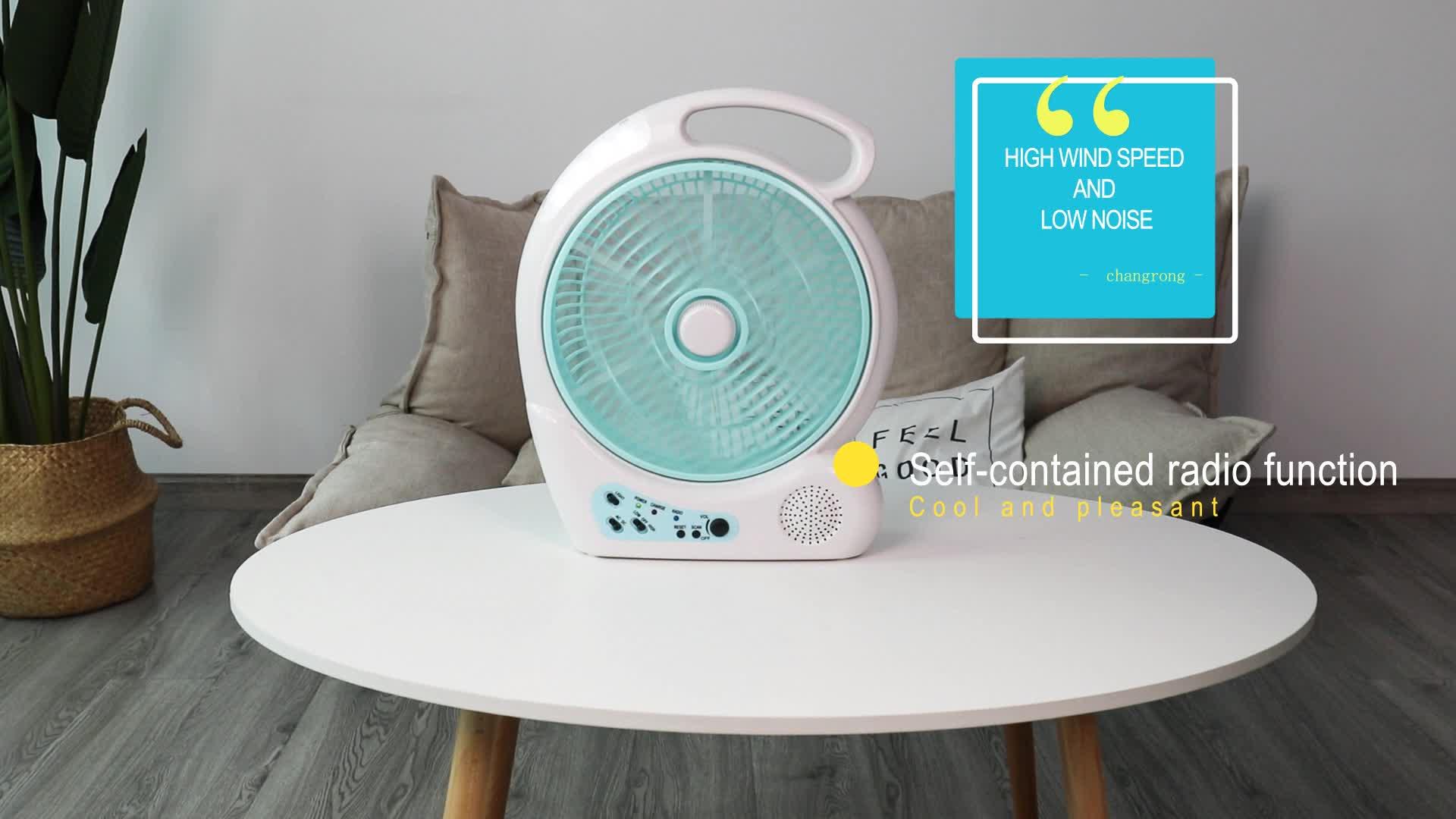 10 pulgadas popular de plástico radio recargable de ventilador con luz