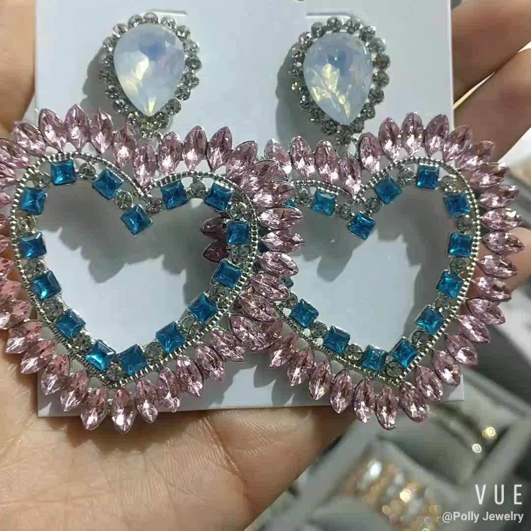 2019 Fashion Luxury Jewelry Pink Blue Rhinestone Acrylic Heart Shape Dangle Drop Earring