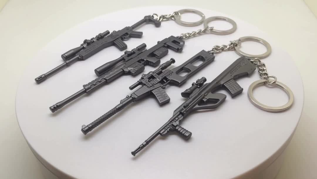 China Manufacturer Upgraded 3D Custom Metal Weapons Keychain SKS Gun For Sale