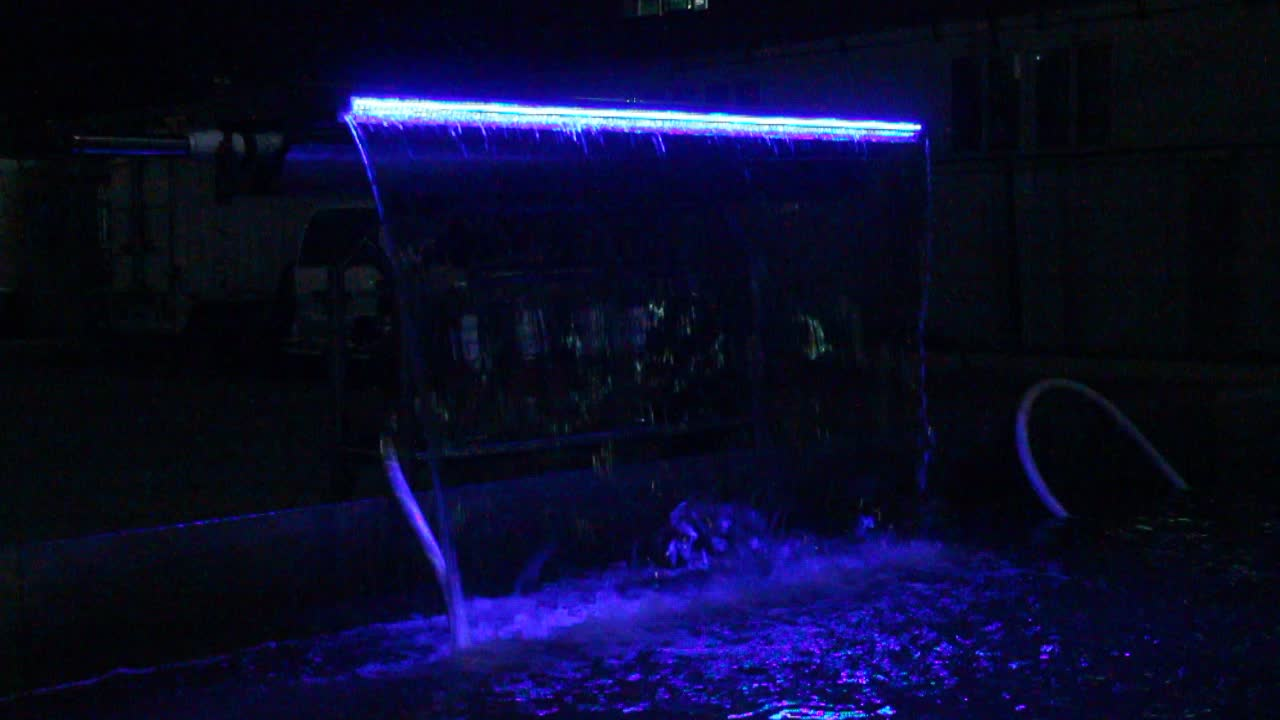 New Landscape Water Feature Pool Water Curtain Waterfall Acrylic With Led Light
