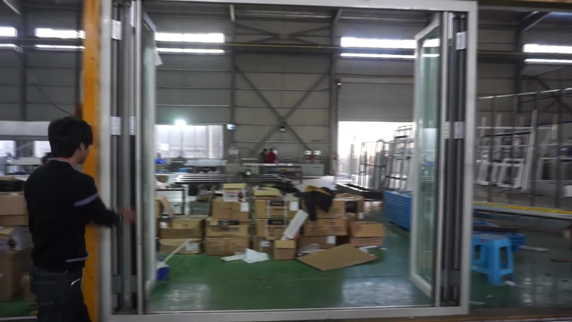 Commerical Water-proof Aluminum Folding Glass Bi-fold Factory Exterior Indian Door Design
