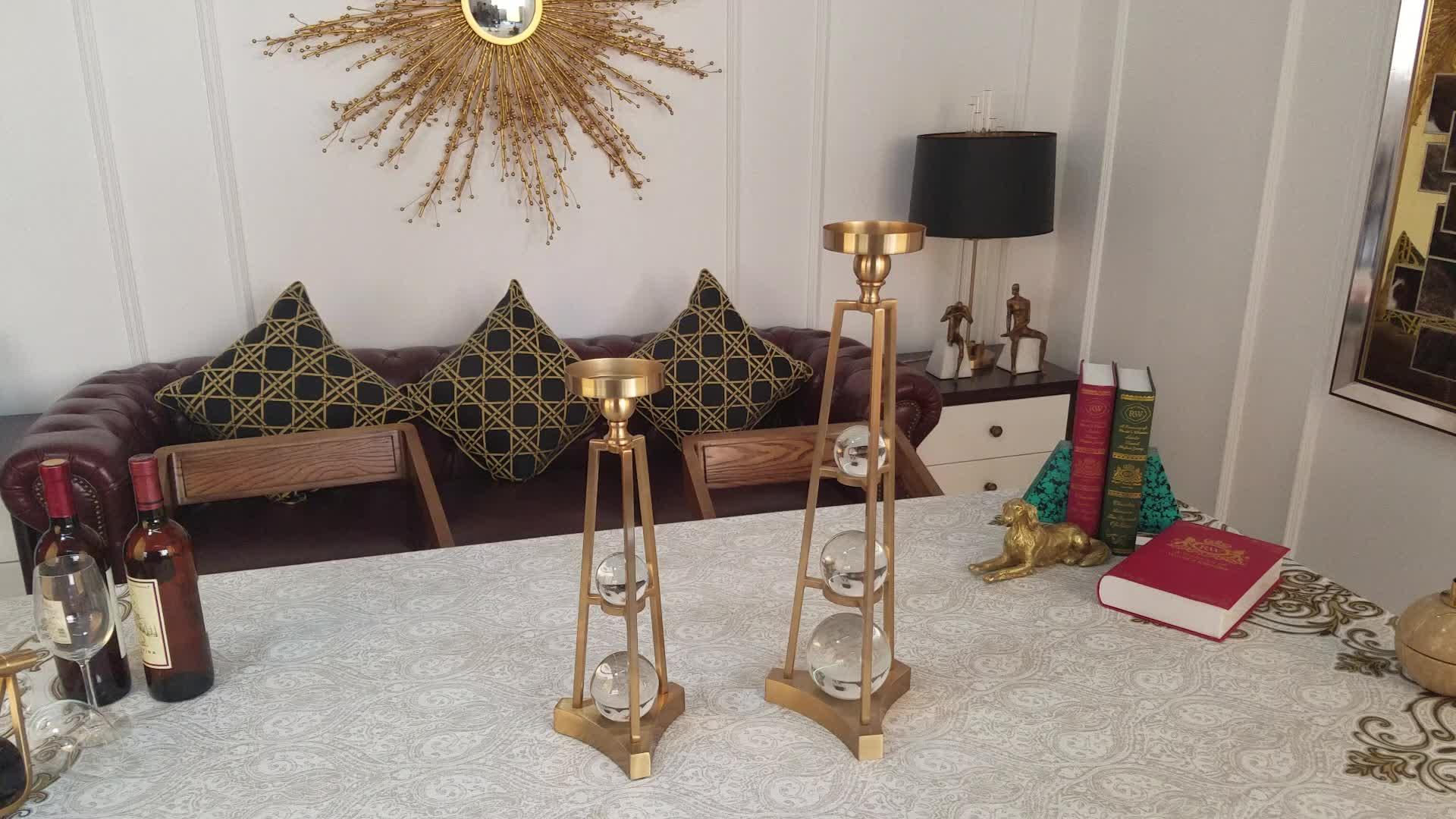 Luxo iron & crystal titular de ouro da vela castiçais de ouro