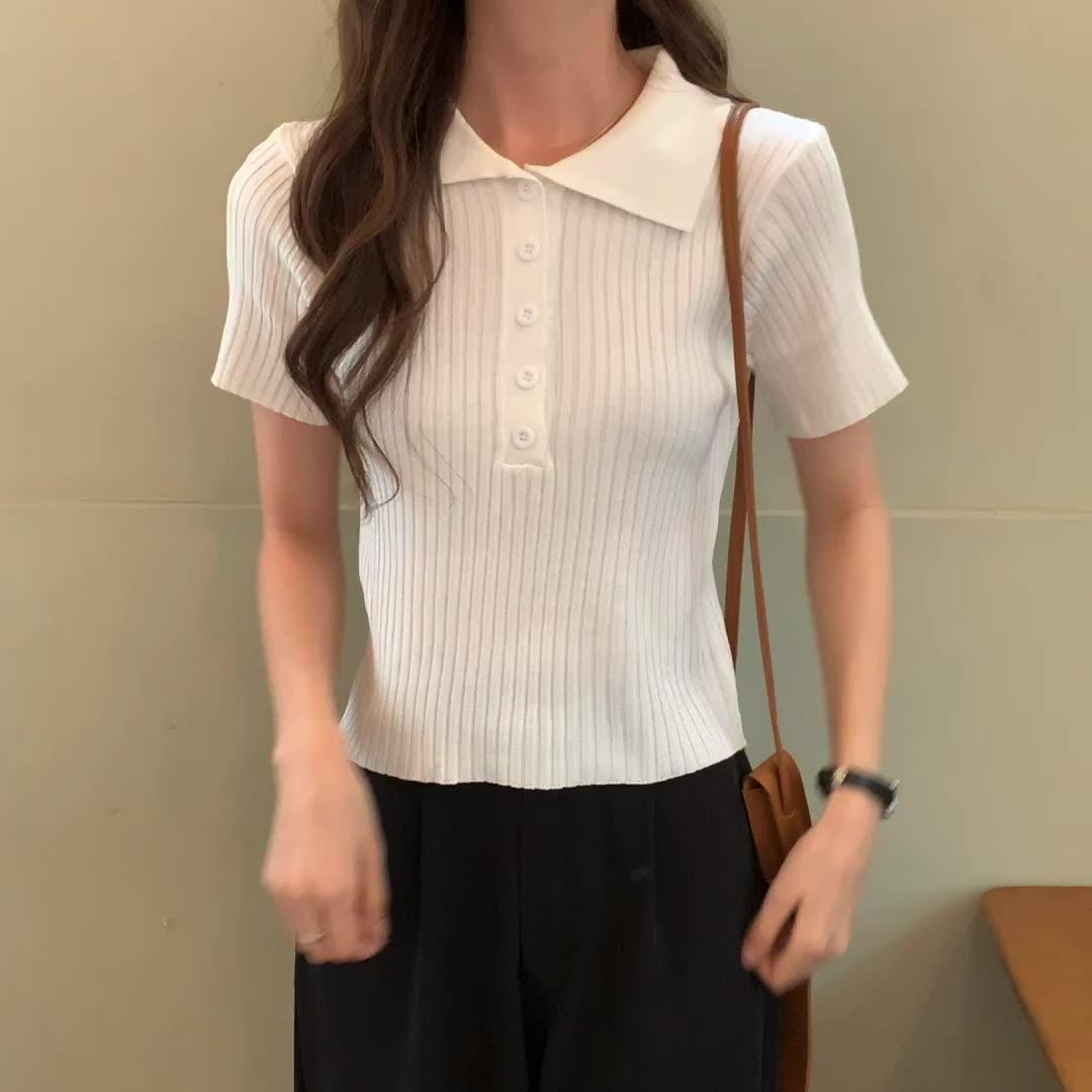 实拍实价#新款法式高腰短款V领针织短袖紧身上衣