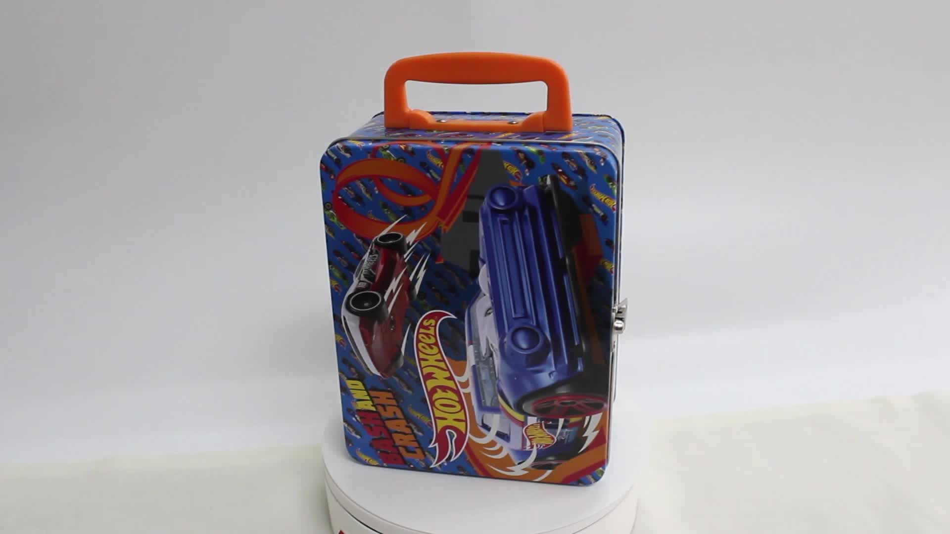 Metal toy boxes kids lunch box with handle and inside plastic dividers metal tool box