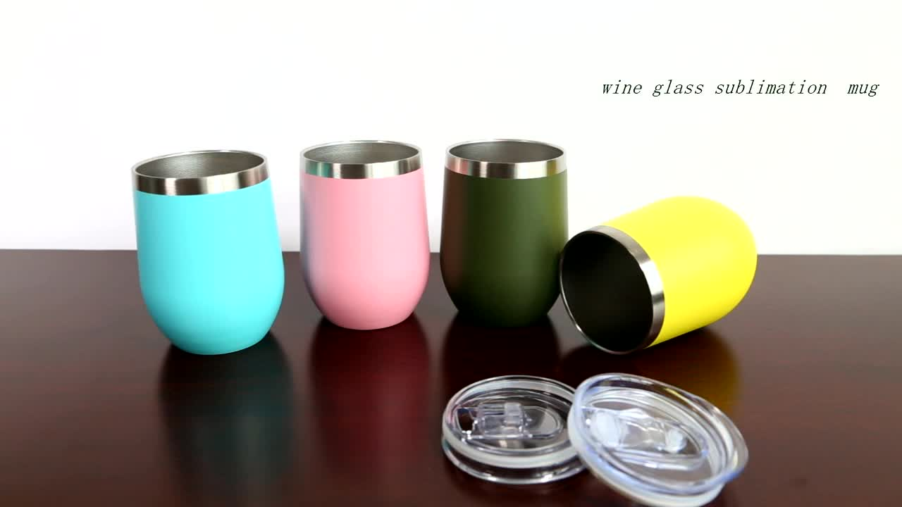 2019 Custom  Stainless Steel Egg Cup Double Kid Milk Drinking Cup Stemless Wine Glass with Lid