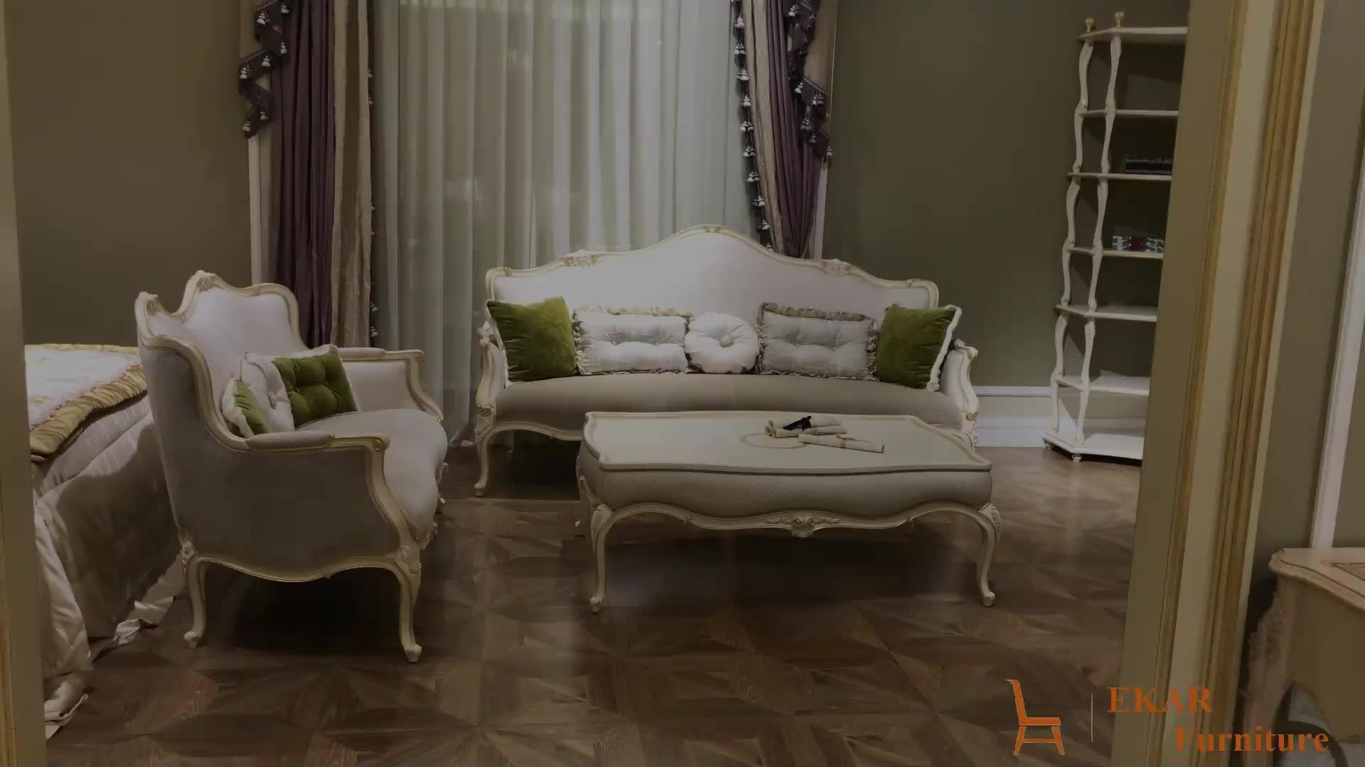 Elegant European Style Living Room Furniture Wooden Design Velvet HIgh End  Fabric Sofa