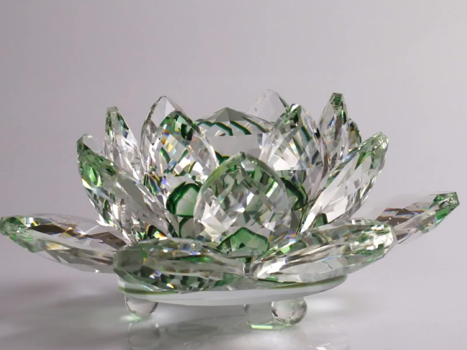 Venda por atacado De Cristal Suporte de Vela Forma de Flor De Lótus De Vidro Para Peças Centrais da Tabela Do Casamento