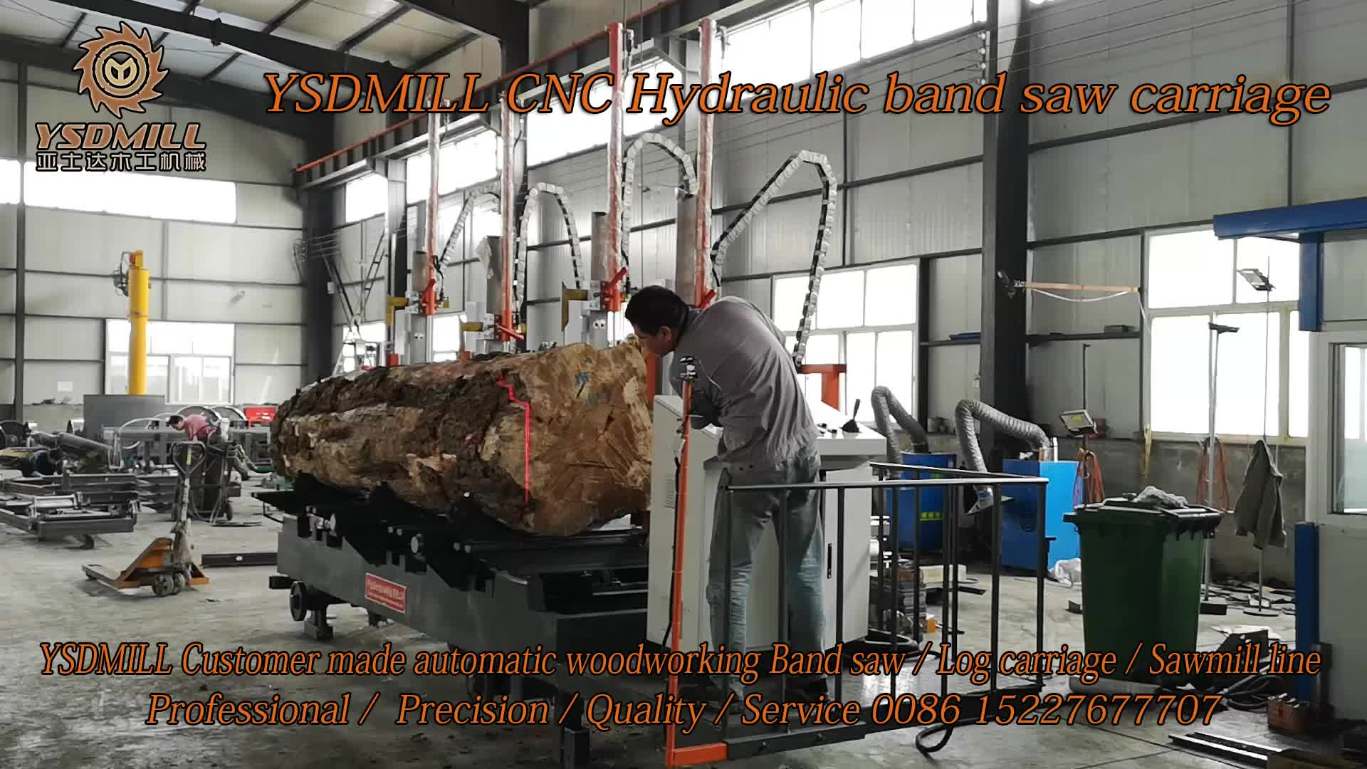 Timber cutting band saw machine with electric  log carriage