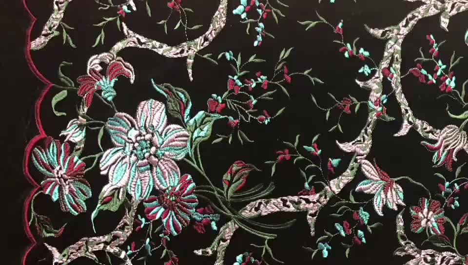 Customized design fashion multi color china embroidered velvet fabric for dresses