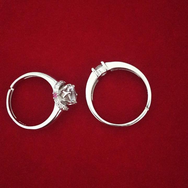 Toptan moda takı Kadınlar Bayanlar Gümüş Kristal Düğün Çift Yüzük Alyans