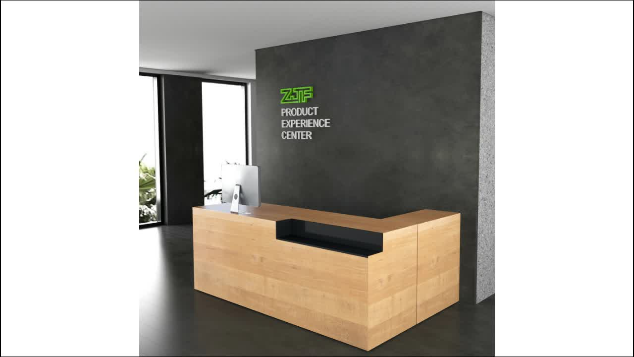Solid wood beauty salons reception desk modern design L shape office reception tables