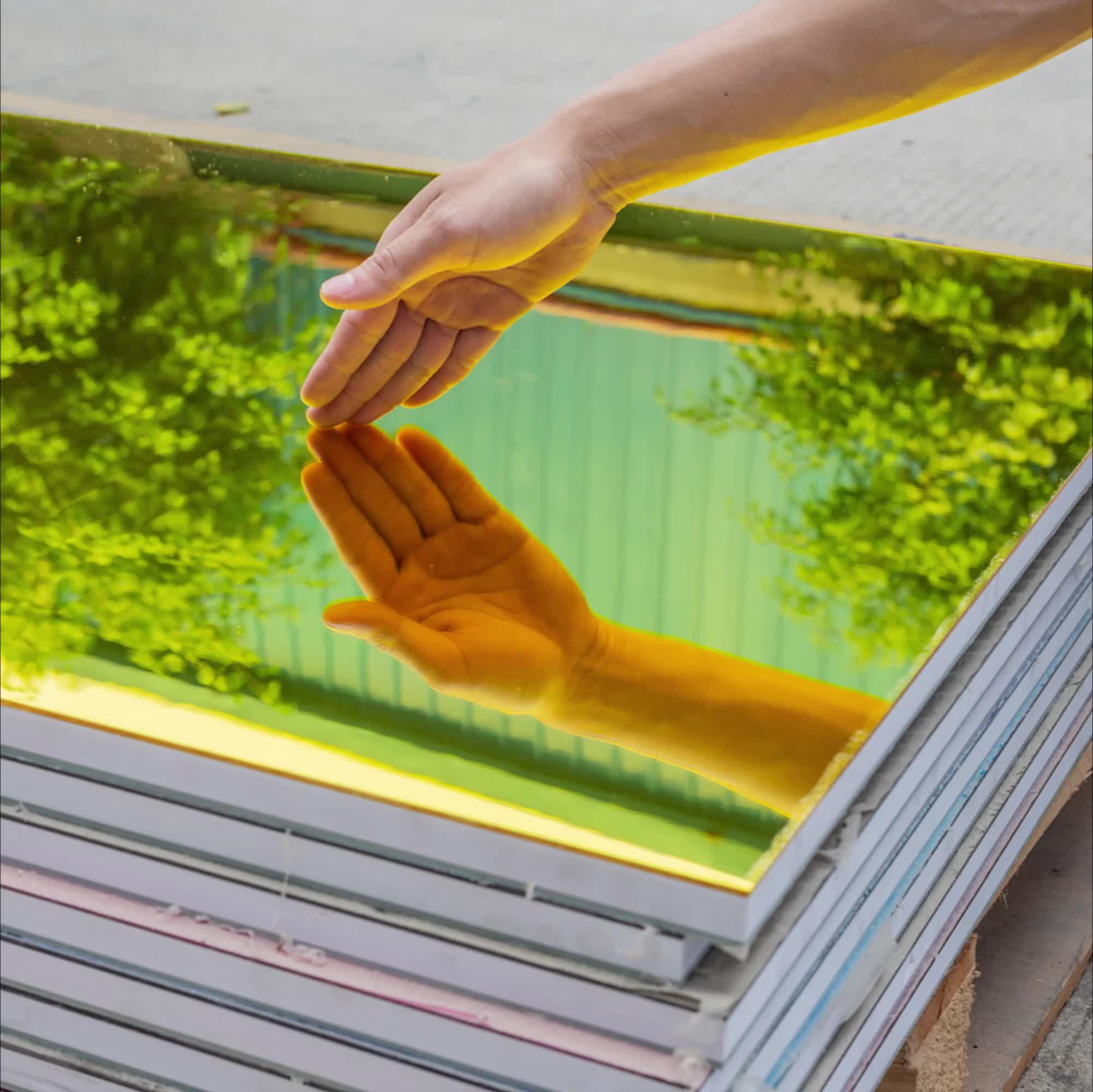 Golden แผ่นกระจกอะคริลิคกระจกพลาสติกแผ่นสำหรับตกแต่ง