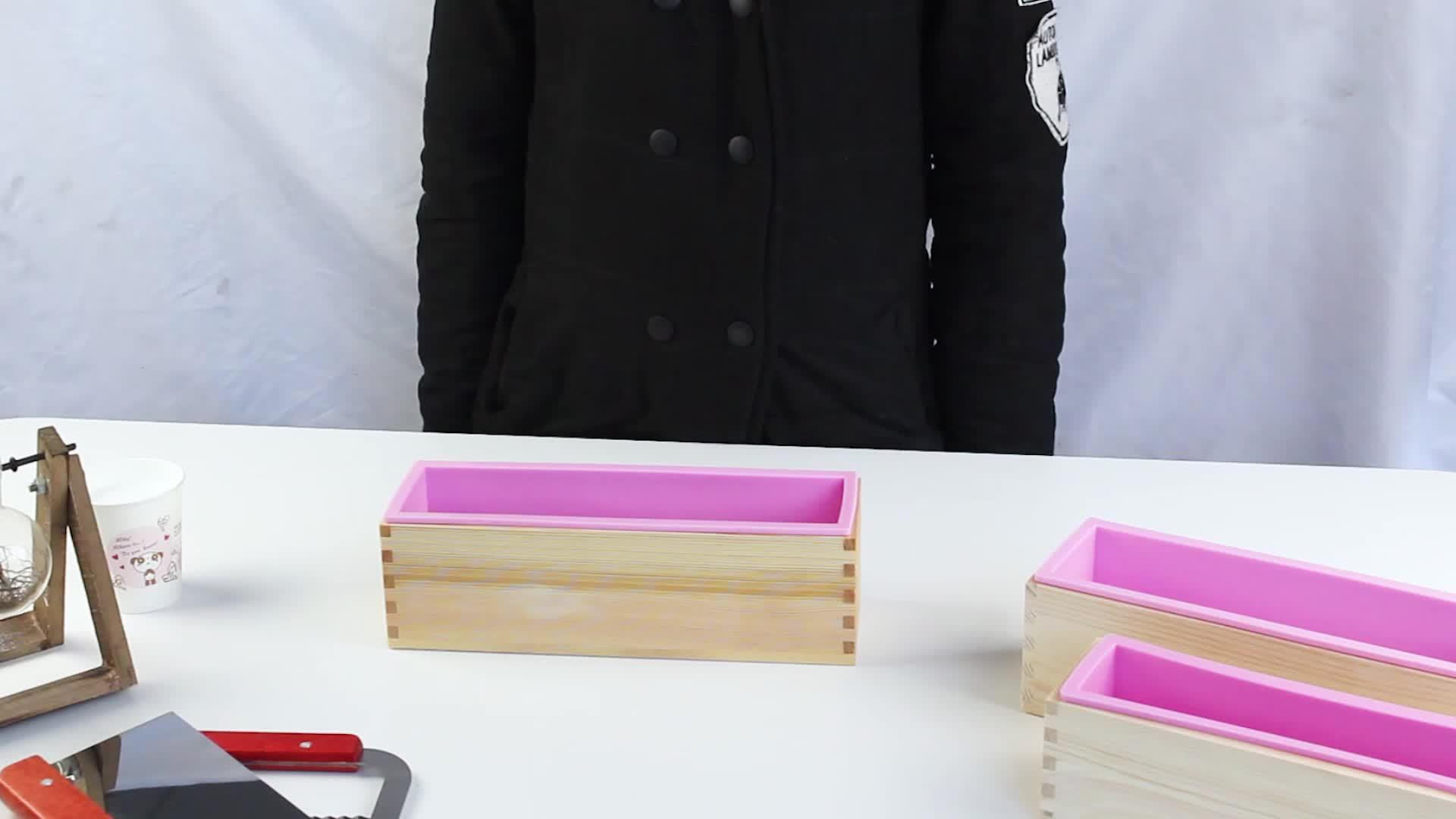 Atacado Handmade Personalizado Facilmente demolded Madeira Retângulo Molde Sabão Silicone