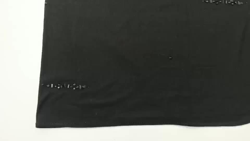 In stock Stripe Design Ladies Muslim Hijab Scarf Soft Plain jersey cotton hijab Scarf With stone
