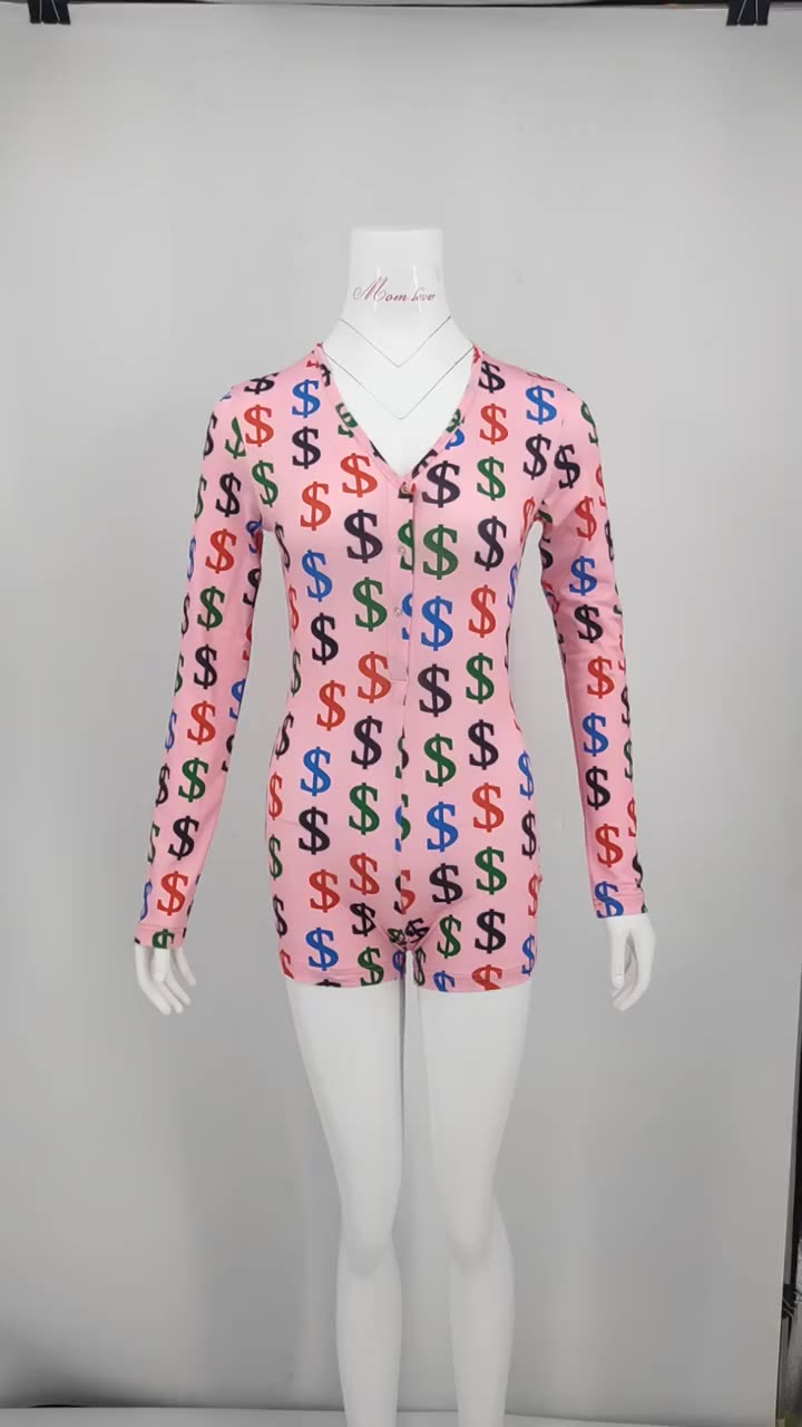 2020 New Latest Wholesale Custom Printing Sexy Plus Size abdl Women's Pajamas Adult Onesie