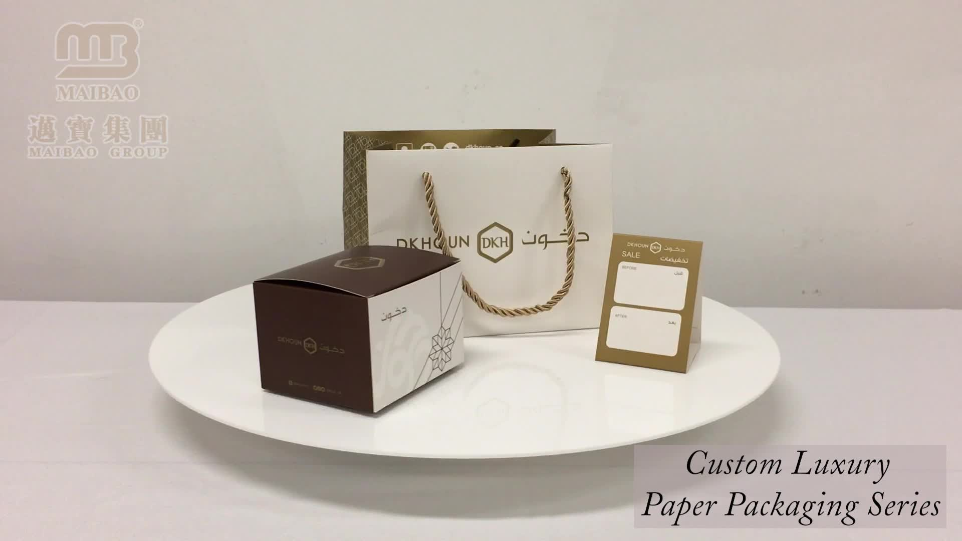Custom Black Printing Luxury Silver Hot Stamping Shopping Promotion Paper Bag With Handle