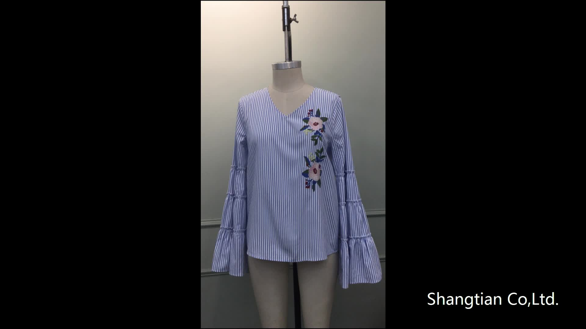 Hot sales women's embroidery tops flare sleeve blue stripe blouses Sta-00356