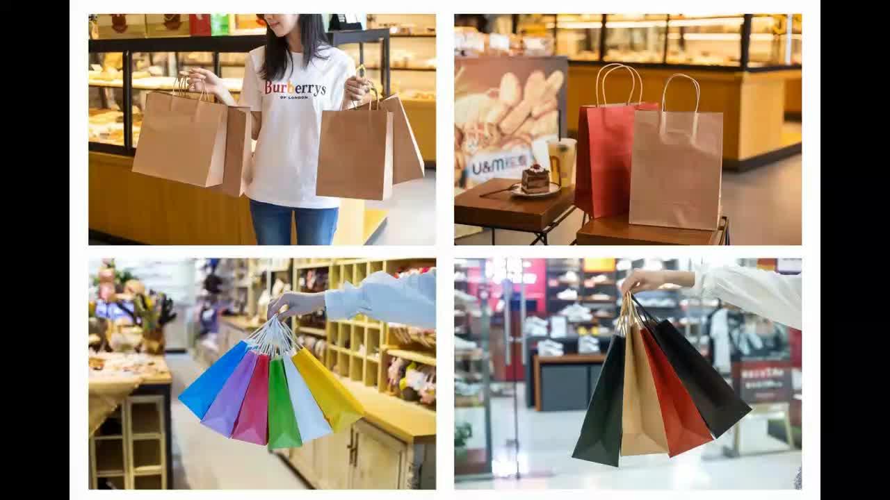 Productos de punto laminado sos cmyk color café azul blanco de kraft marrón bolsas de papel de embalaje con mango