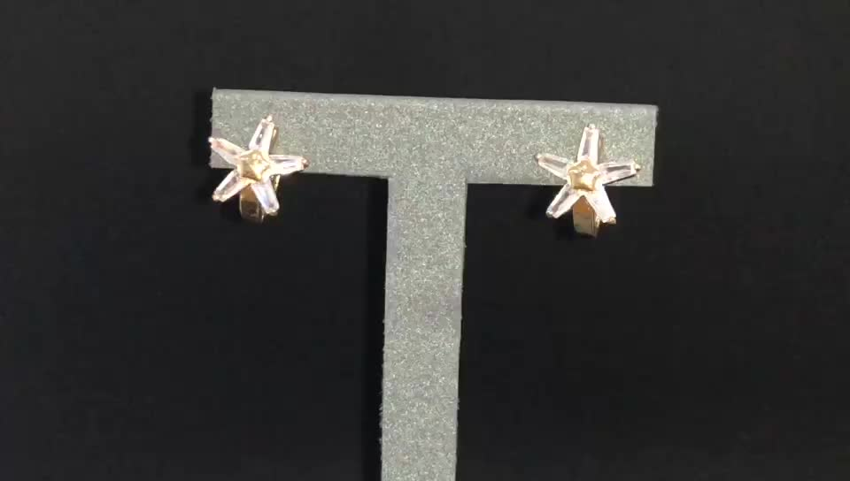 Direct Factory Minimalist Design Women 18K Gold Plated Snowflake Shape Stud Earring