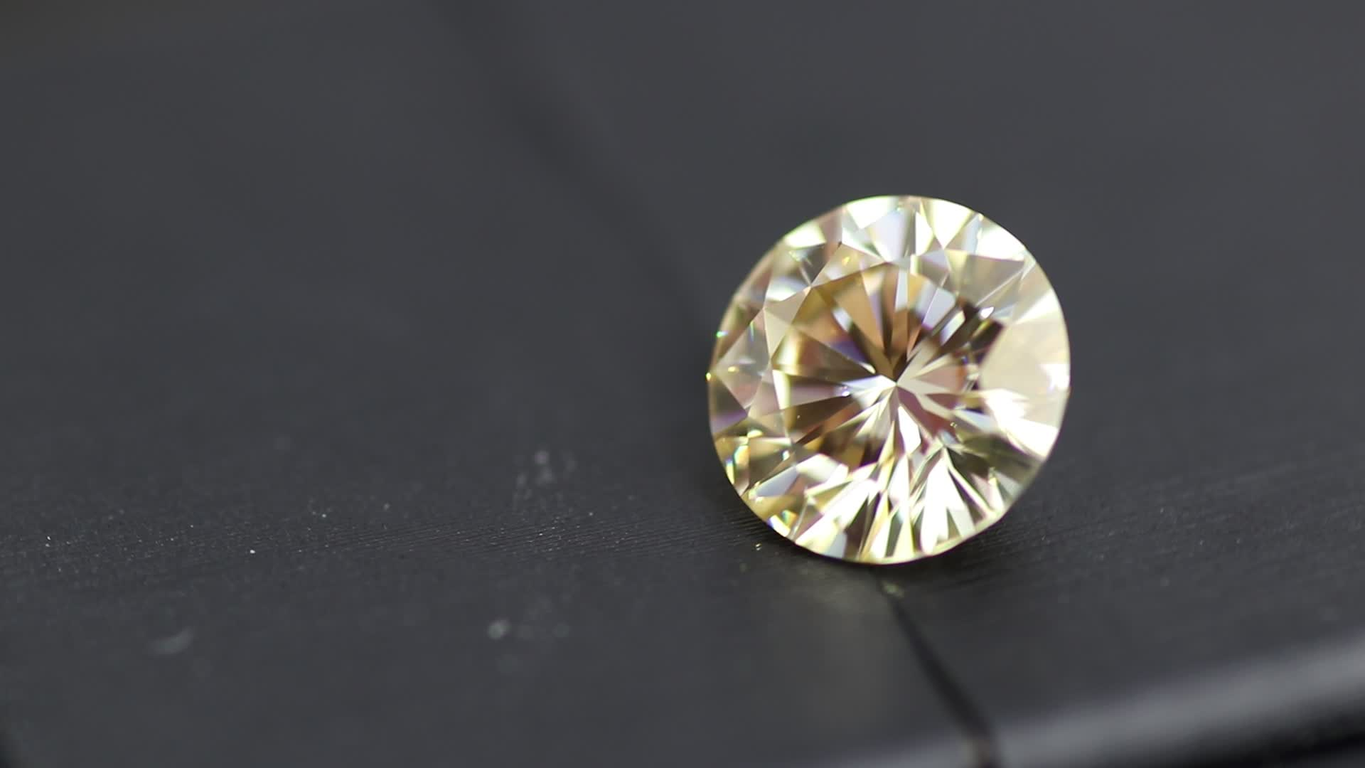 Never change Round brilliant cut light yellow color moissanite for moissanite jewelry making