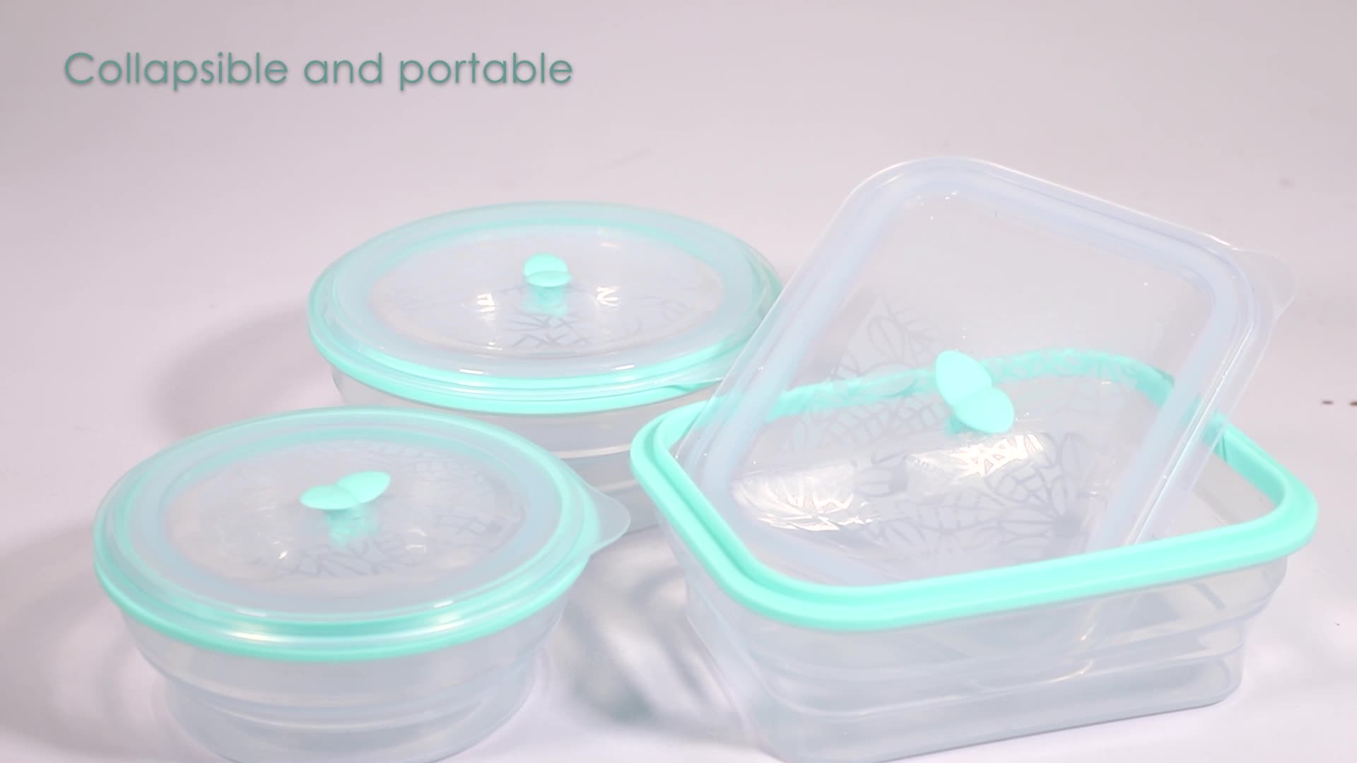 800ml Silicone Collapsible Food Storage Container BPA Free Foldable Lunch Box