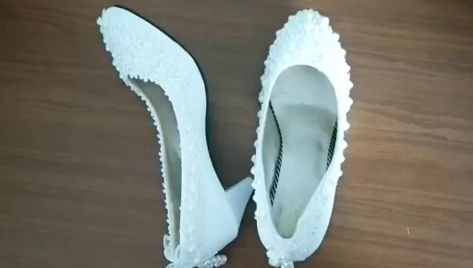 Spring and summer new white fashion hand-married shoes for the birthday party wedding dress women's shoes WS010