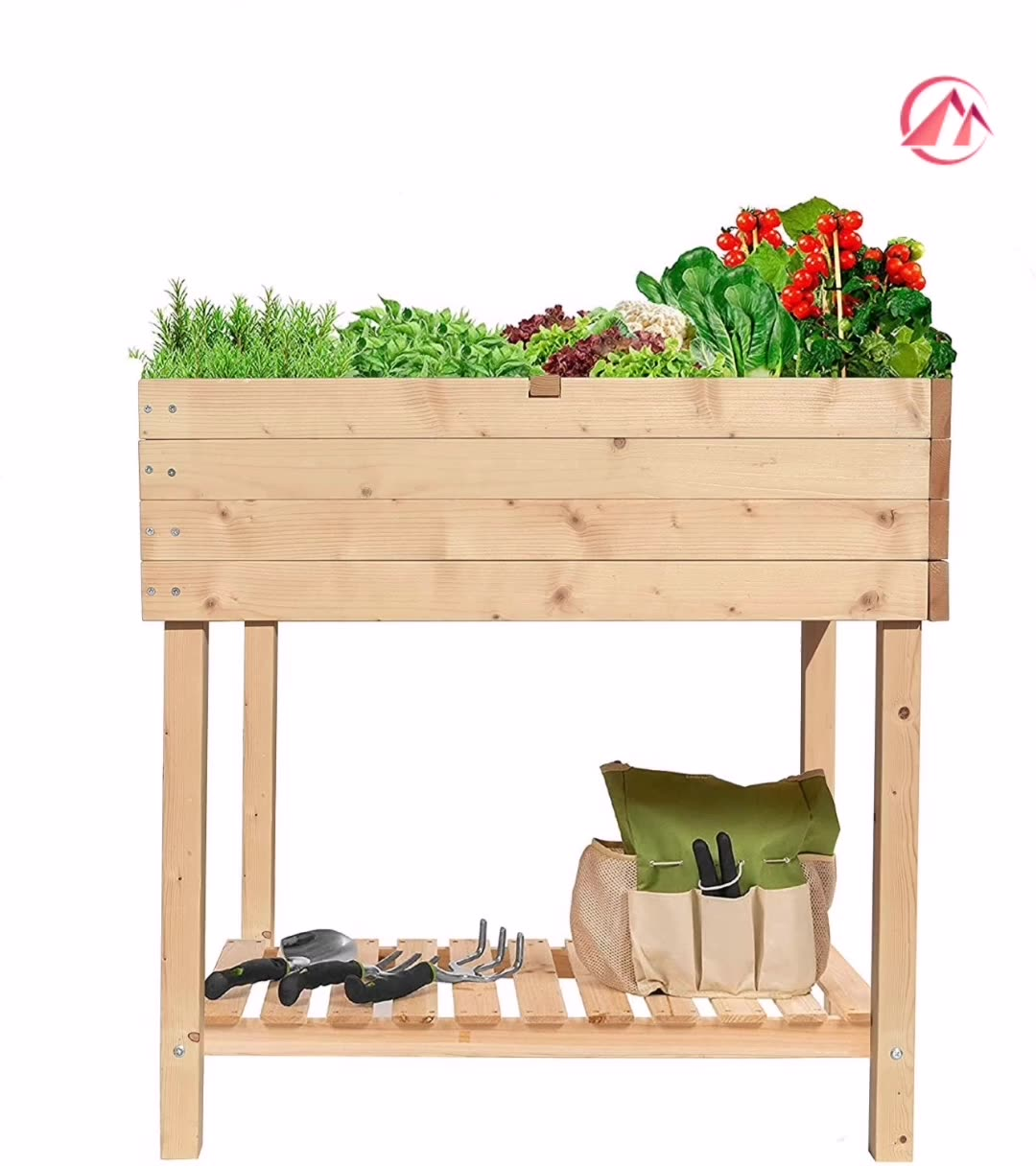 Fabric Raised Garden Bed Wooden Potting Work Bench Station Planting Workbench