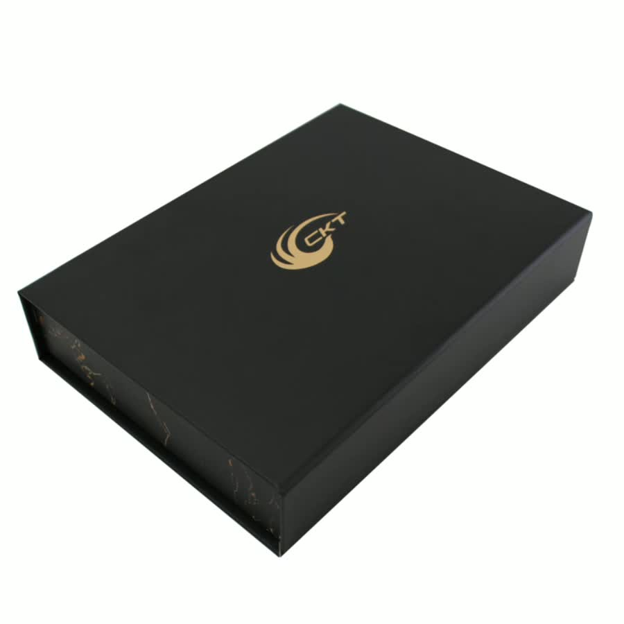Matte Black and Gold Foil Stamping Custom Logo a5 Cardboard Scarf Flip Top Magnetic Closure boxes Gift Packaging Boxes