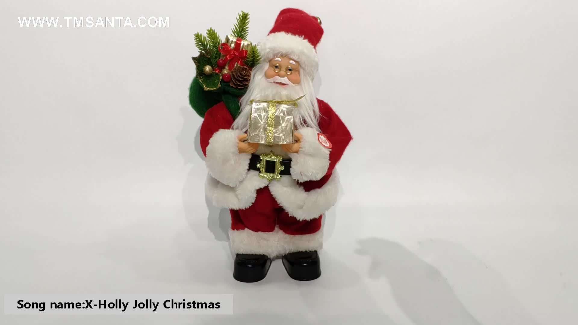 12Inch Christmas Santa Claus with Music Animated Standing Led Lighting Singing and Dancing Red Life size Clausing Figurie