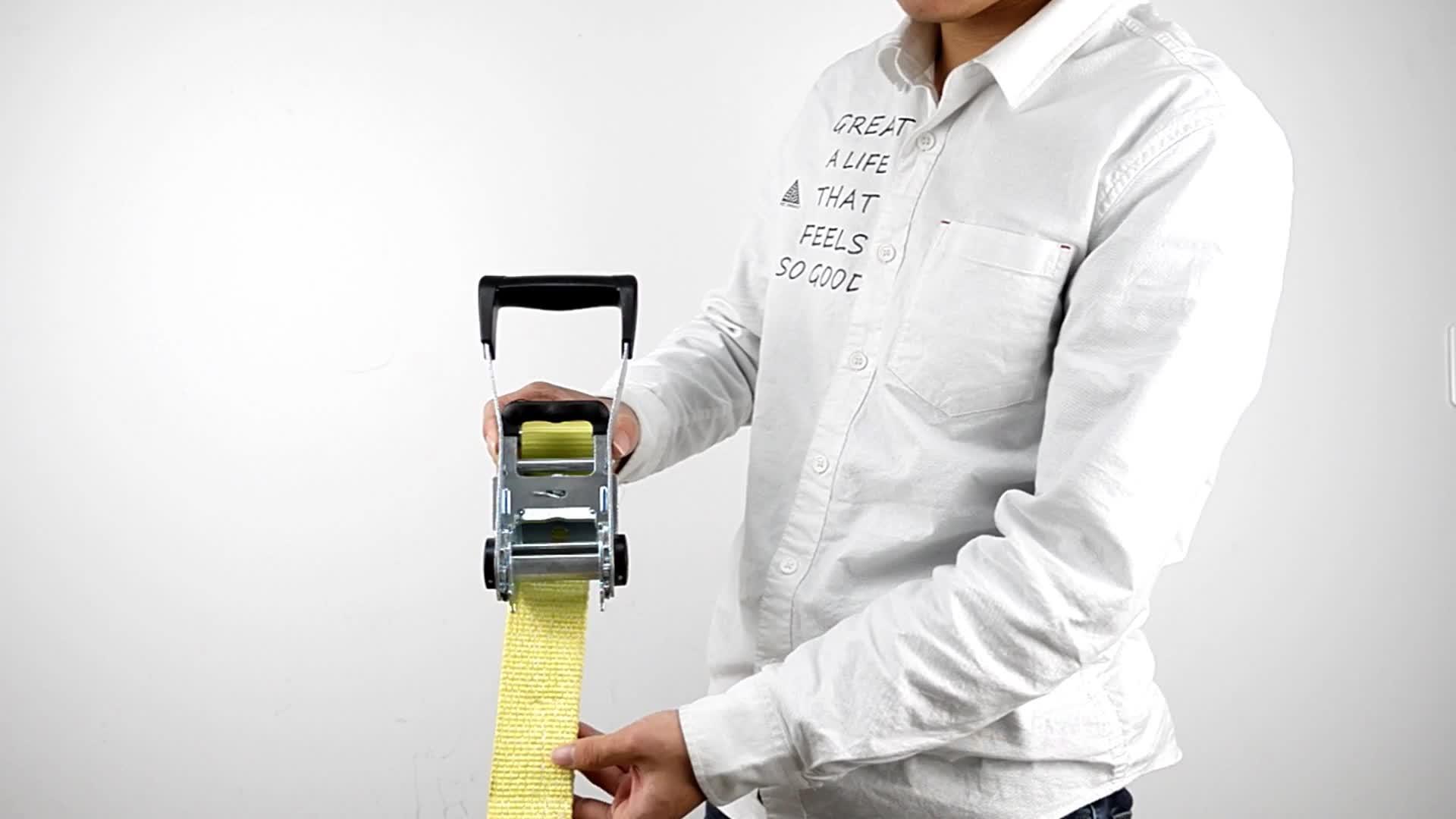 GS NHƯ chứng nhận 5T heavy duty thoải mái nhựa xử lý ratchet tie xuống dây đeo hàng hóa lashing vành đai