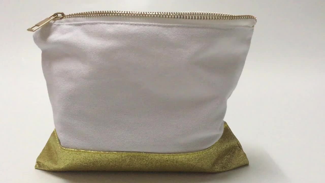 Daily home essentials 100% cotton custom canvas pouch blank canvas cosmetic bag custom for wholesale